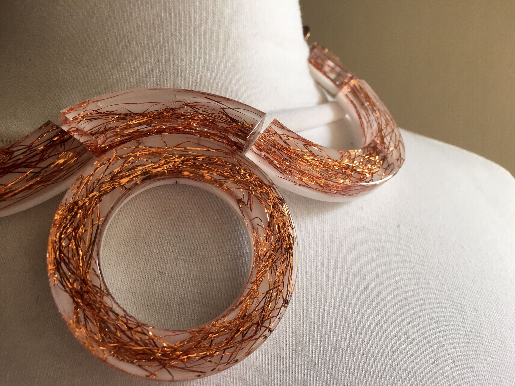 Plexiglas necklace inspired from Greek amphora.