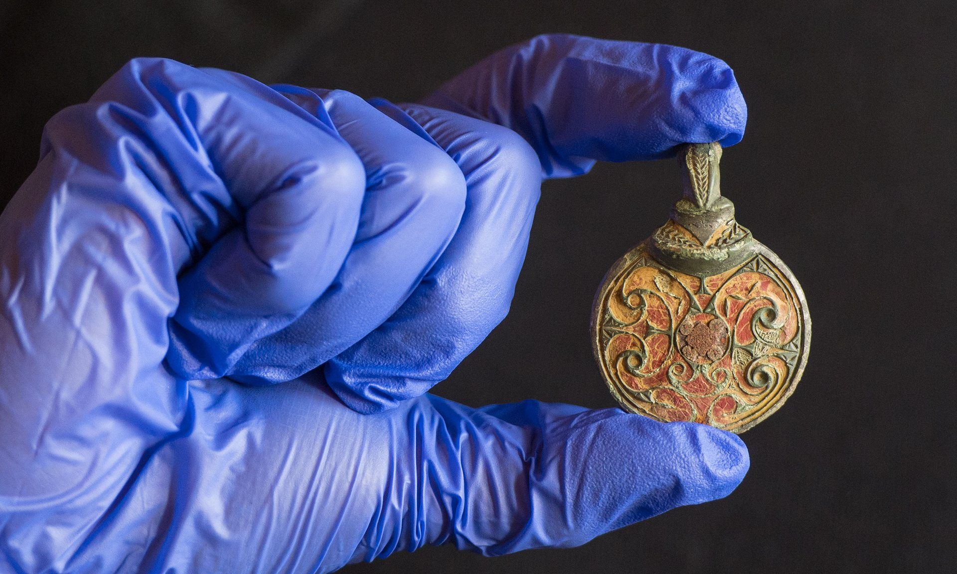 A looped mount for an Anglo-Saxon hanging bowl, found in a field in West Sussex. Photograph: Dominic Lipinski/PA