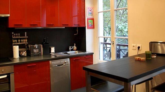 couleur au mur avec une cuisine rouge, grise et inox ?