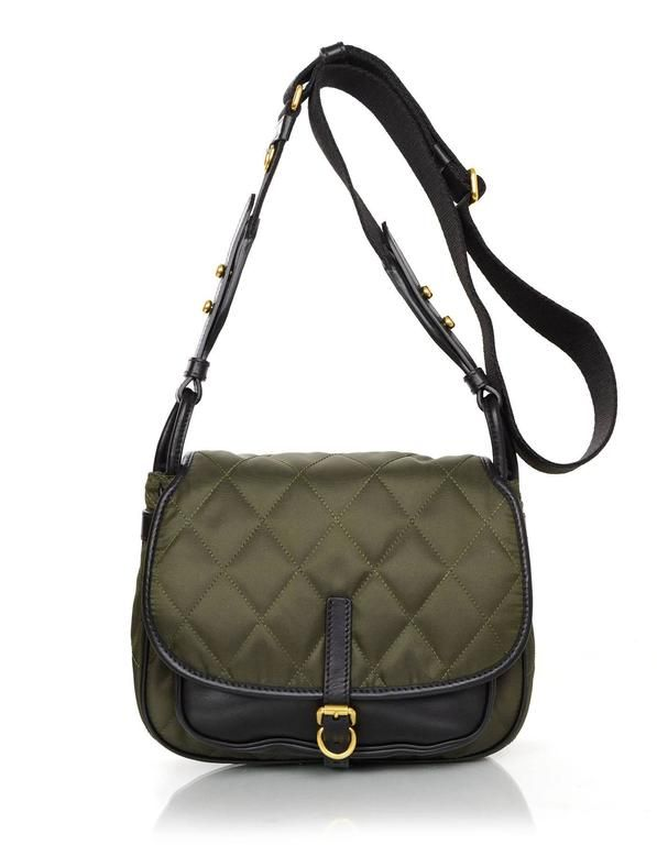 b60e4b0c4 Prada 2016 Army Green Nylon & Leather Quilted Corsaire Messenger Crossbody  Bag