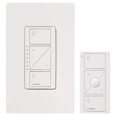 Lutron P Pkg1w Wh R White Caseta 150 Watt Wireless Smart Home Multi Location In Wall Dimmer Kit With Pico Remote Control Light Dimmer Switch Lutron Smart Lighting