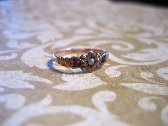 Antique Victorian 10K Gold Baby Ring w Red Stones by charmingellie