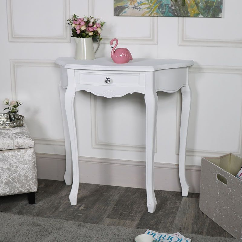 b9d777eb8a This is our Elise White half moon console table. A simply beautiful  addition to this popular furniture range. Painted in a clean white colour  that will suit ...