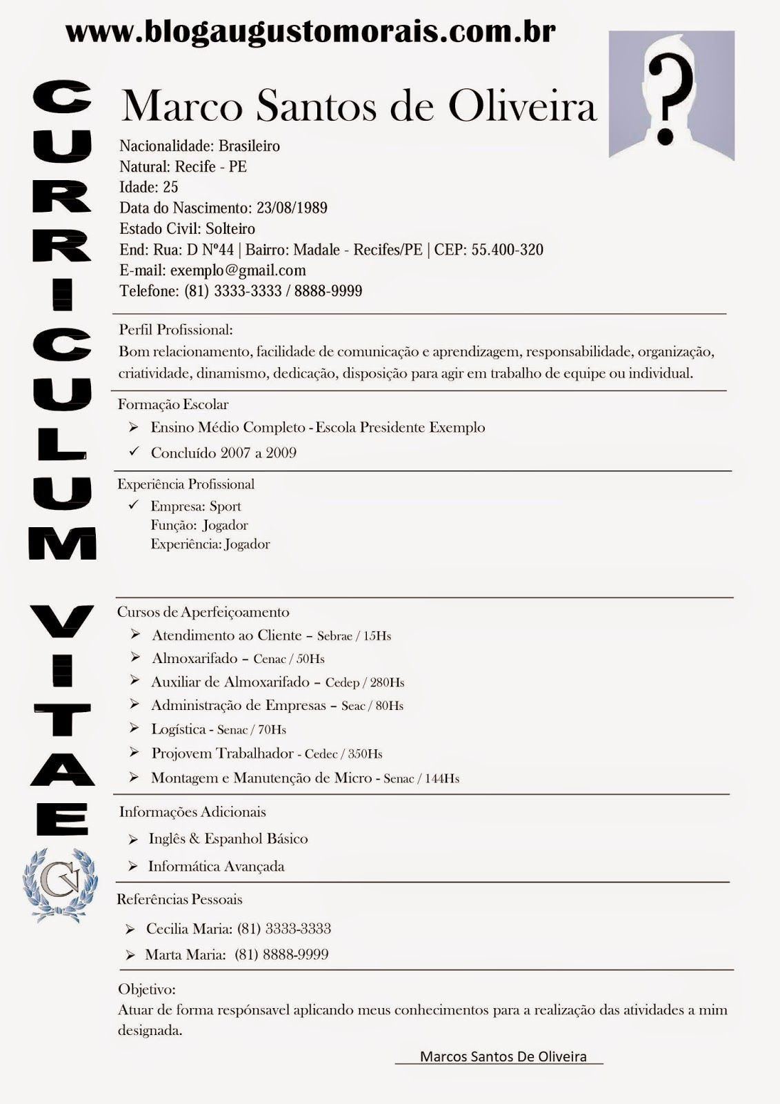 MODELO DE CURRICULUM PRONTO 2017 | Curriculo prontos | Pinterest ...
