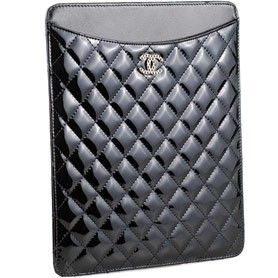 cc5aa8cd8b6ac7 Knock off Chanel Quilted Patent Leather Ipad Case Black (349-bb) $144