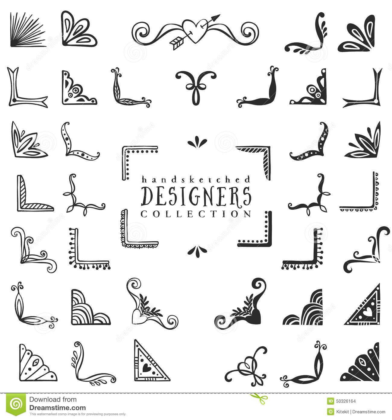 Vintage decorative corners collection hand drawn vector design