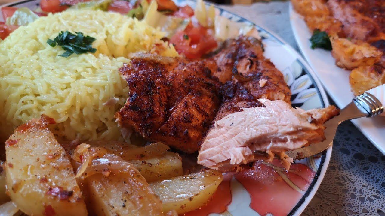 سمك فيليه السلمون سمك مشوي بالفرن بتتبيلة مميزة ولذيذة Food Pork Meat