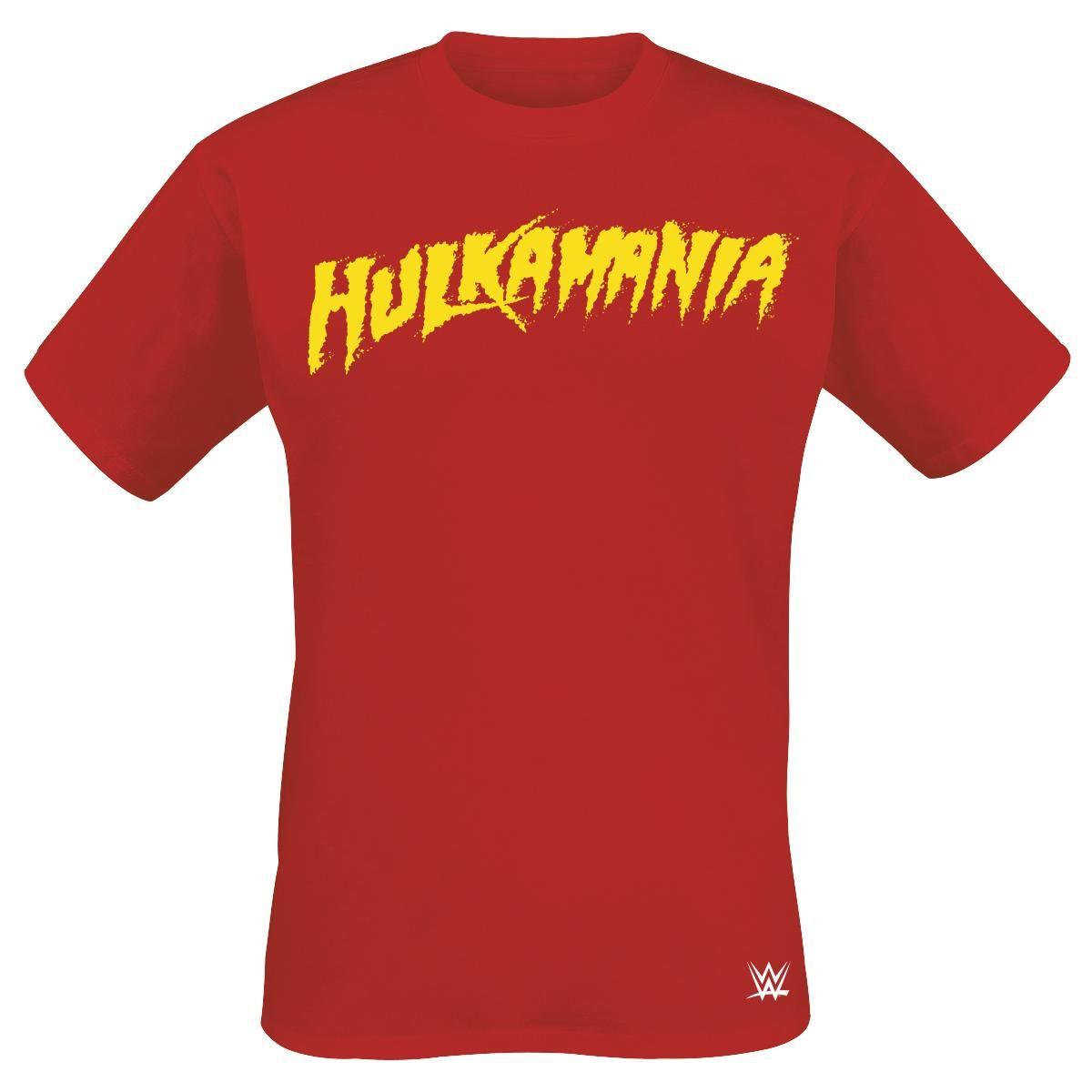"Classica #T-Shirt uomo rossa ""Hulk Hogan - Hulkamania"" del merchandise ufficiale firmato #WWE con stampa frontale."