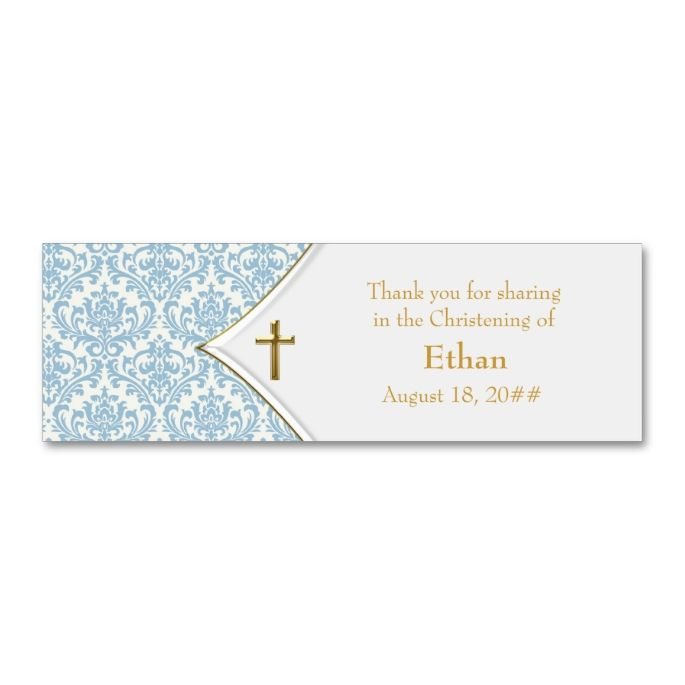 Blue Damask Gold Cross Bomboniere Tags Gold Cross Damasks And - Mini business card template