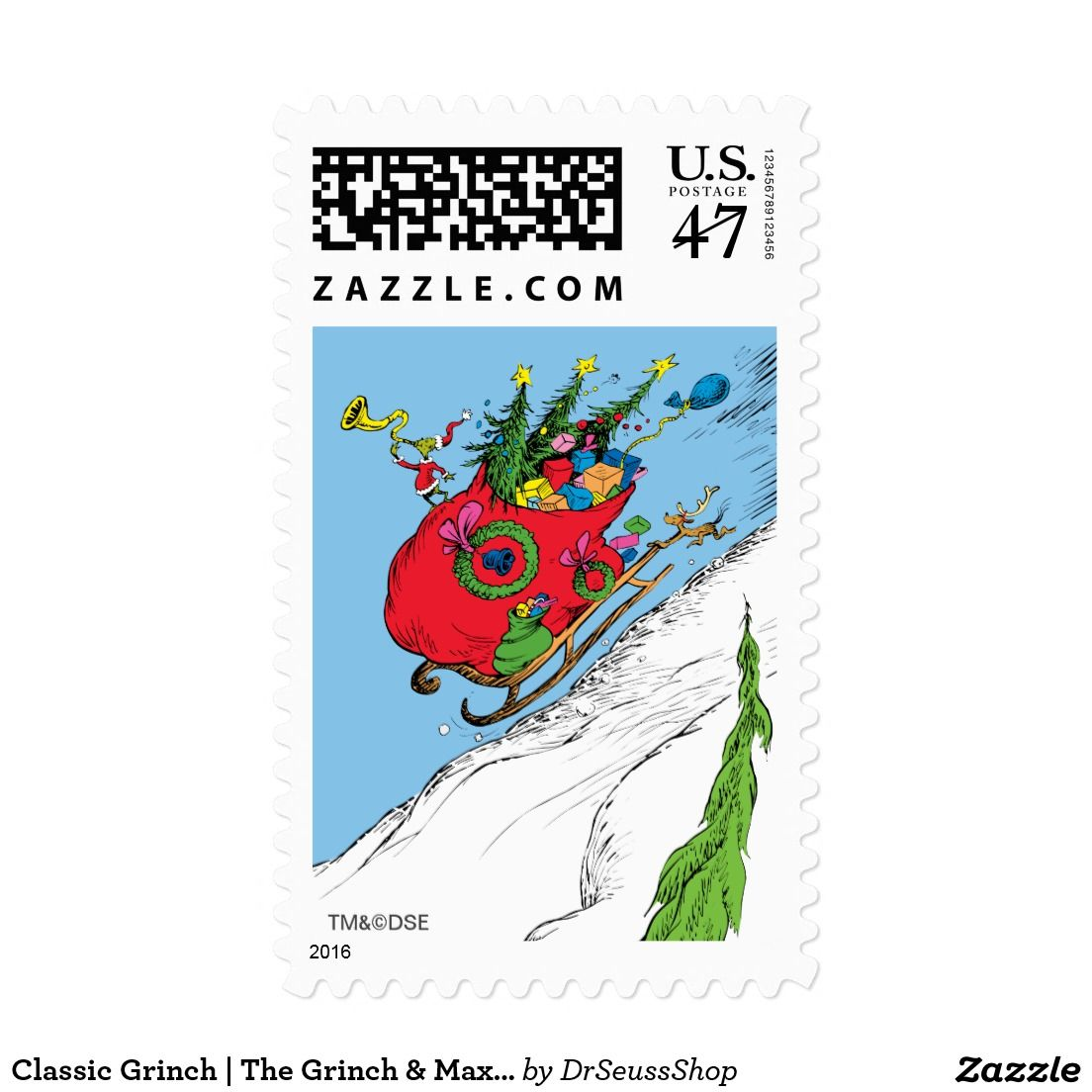 Classic Grinch The Grinch & Max Runaway Sleigh Stamp