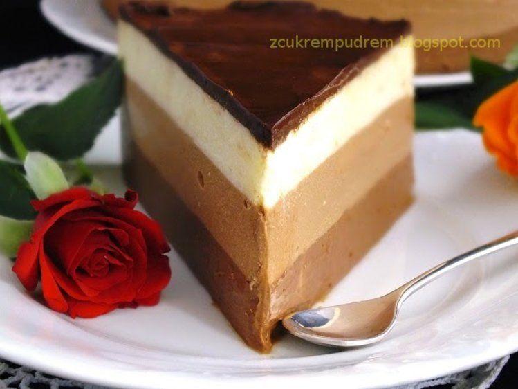 Sernik na zimno z trzema czekoladami