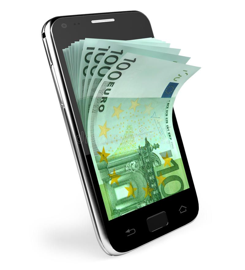 Smart phone with money concept. Euro. Smart phone with