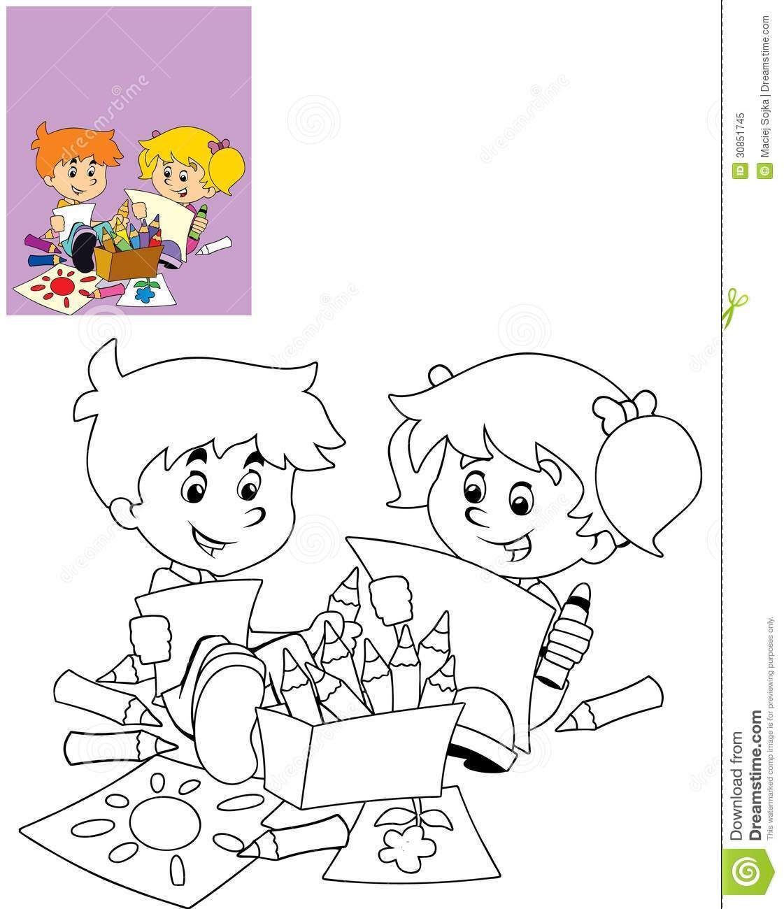 Coloring Book Illustrations Of Children Playing