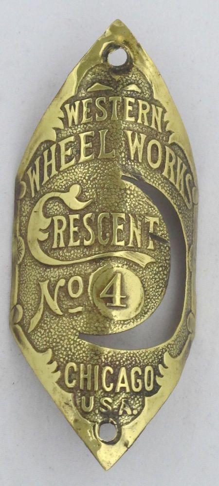 Crescent No 4bicycle Head Badge Bike Name Plate Antique Original Old