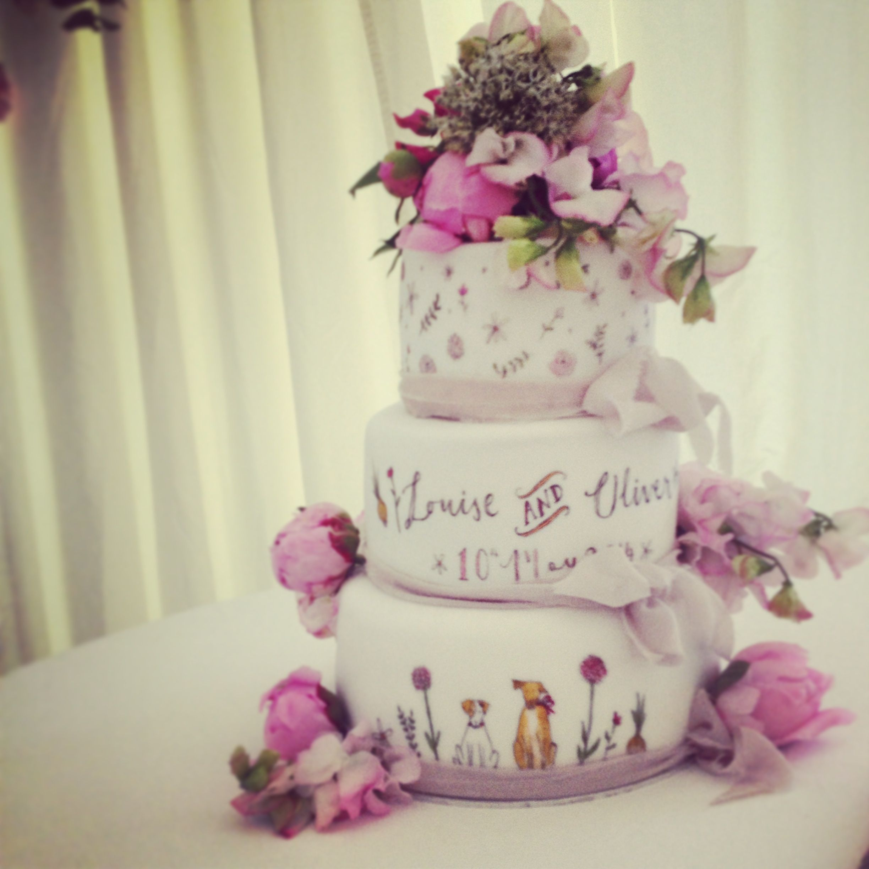 Hand painted wedding cake by Mimolo Design www.mimolo.co.uk ...