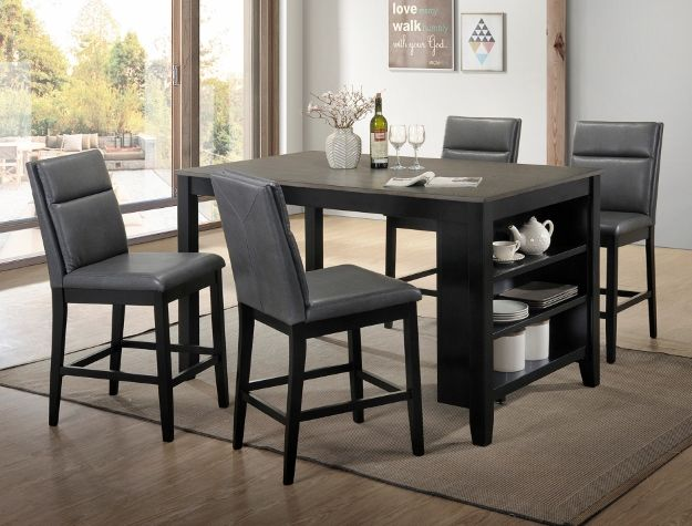 5 Pc Lismore Brown Finish Wood Counter Height Dining Table Set With Shelf This Includes The And 4 Side Chairs Measures 36 X