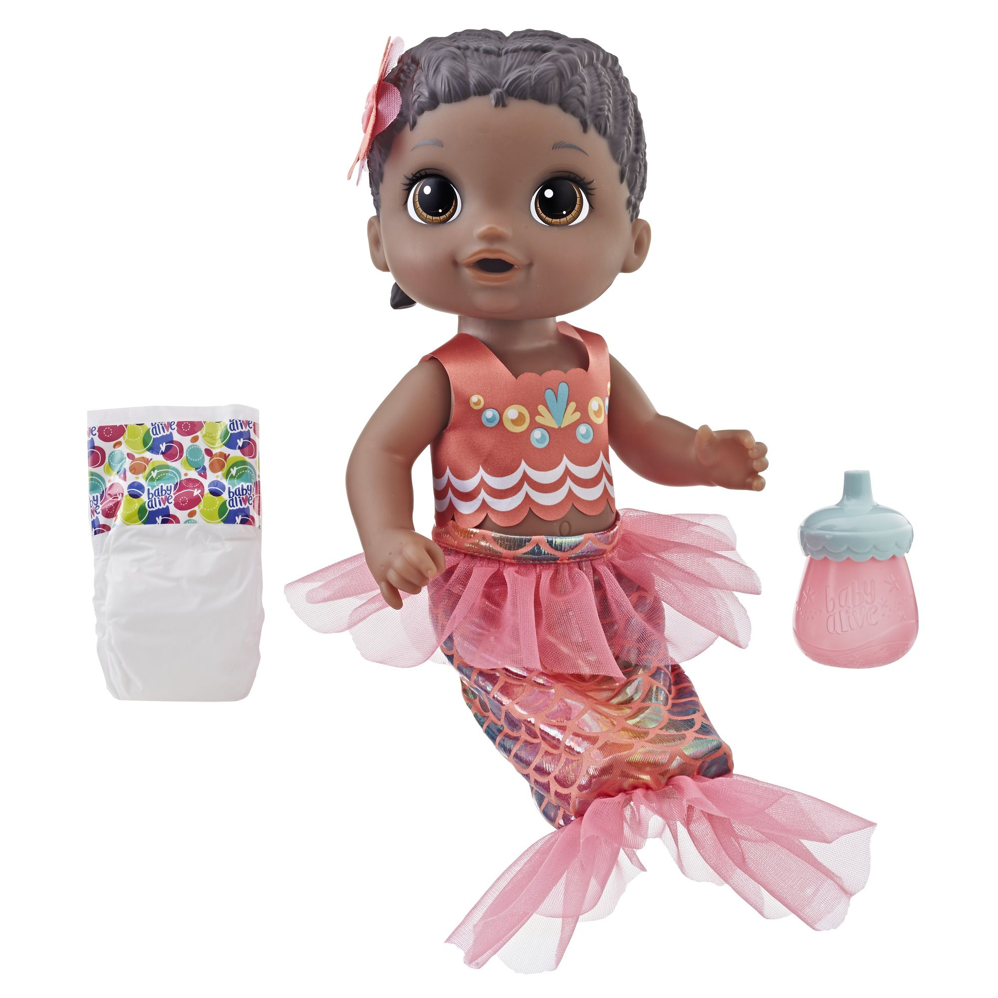 Baby Alive Shimmer N Splash Mermaid Baby Doll, Black Hair