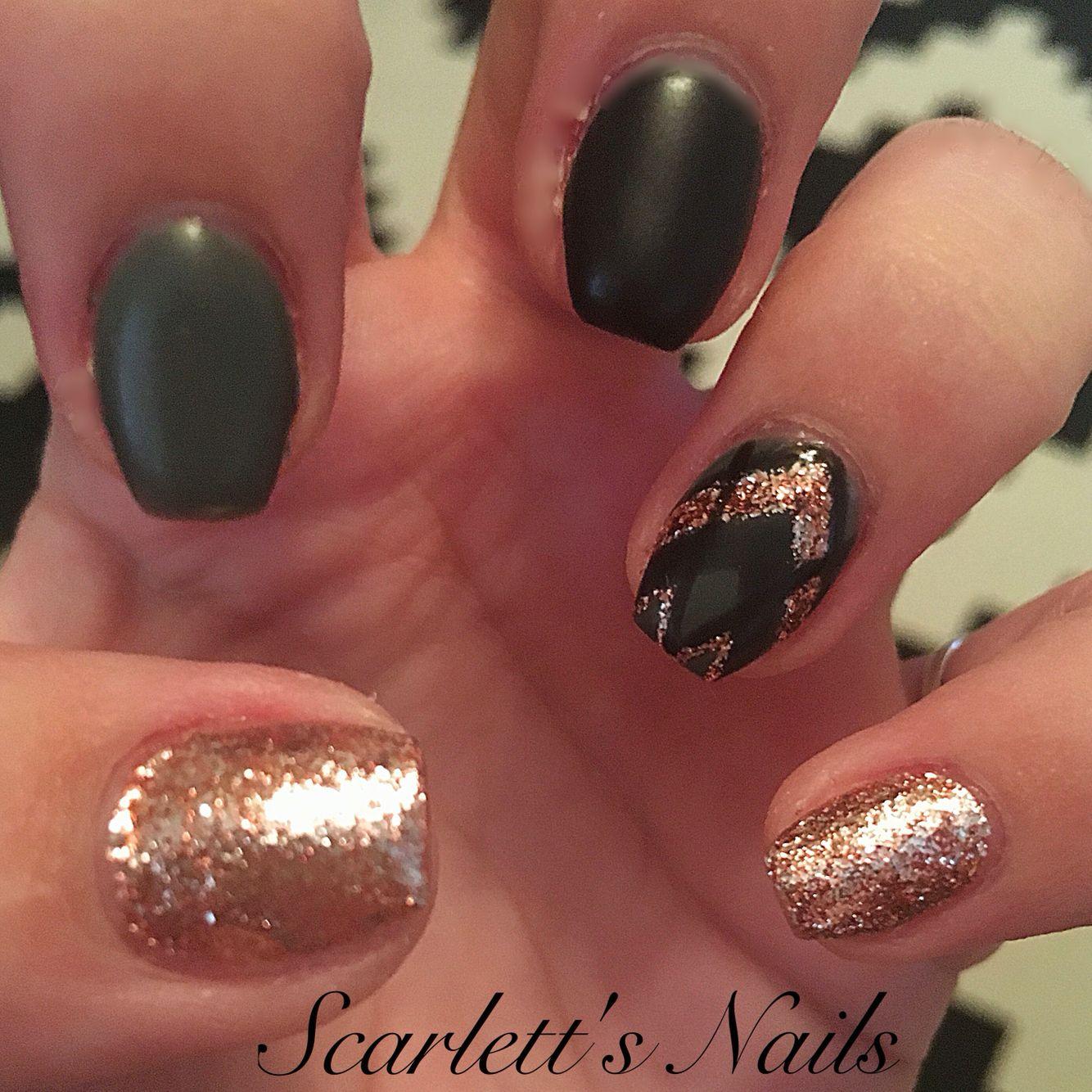 Hunter green black and rose gold short coffin matte gel nails ...