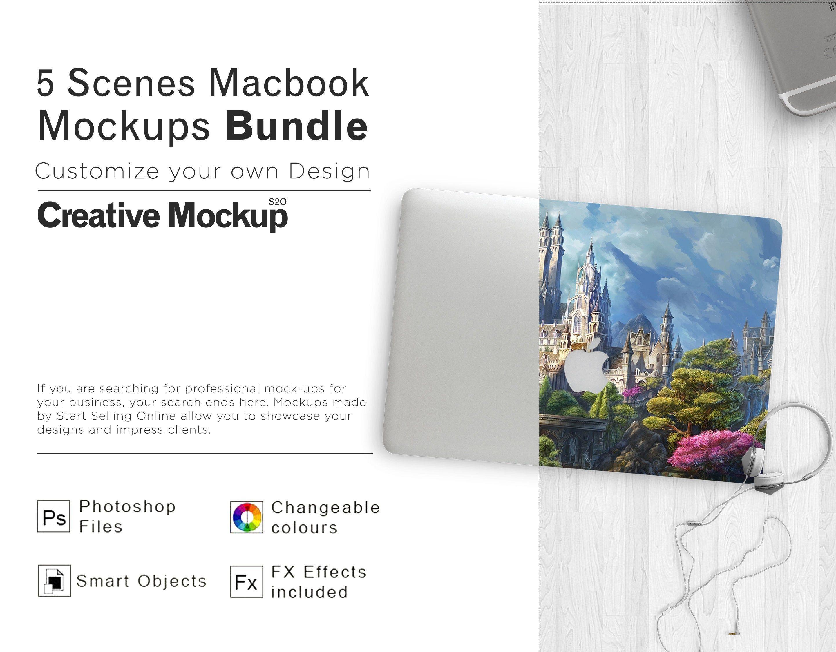 5 Scenes Macbook Mockups Bundle Macbook Mockup Laptop