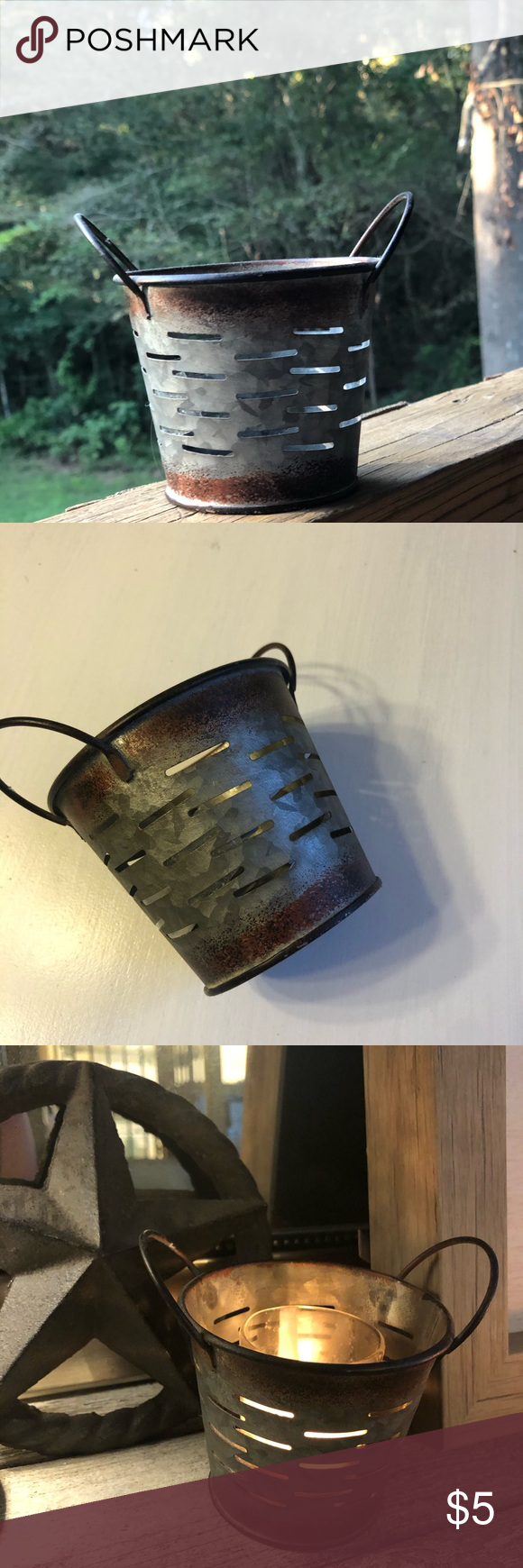 Farmhouse rustic small bucket or candleholder This adorable little bucket is perfect for keeping candy in, using as a Knick knack decor, putting small amounts of potpourri, or using as a candle holder.   (Candle in picture not included) Other #knickknack