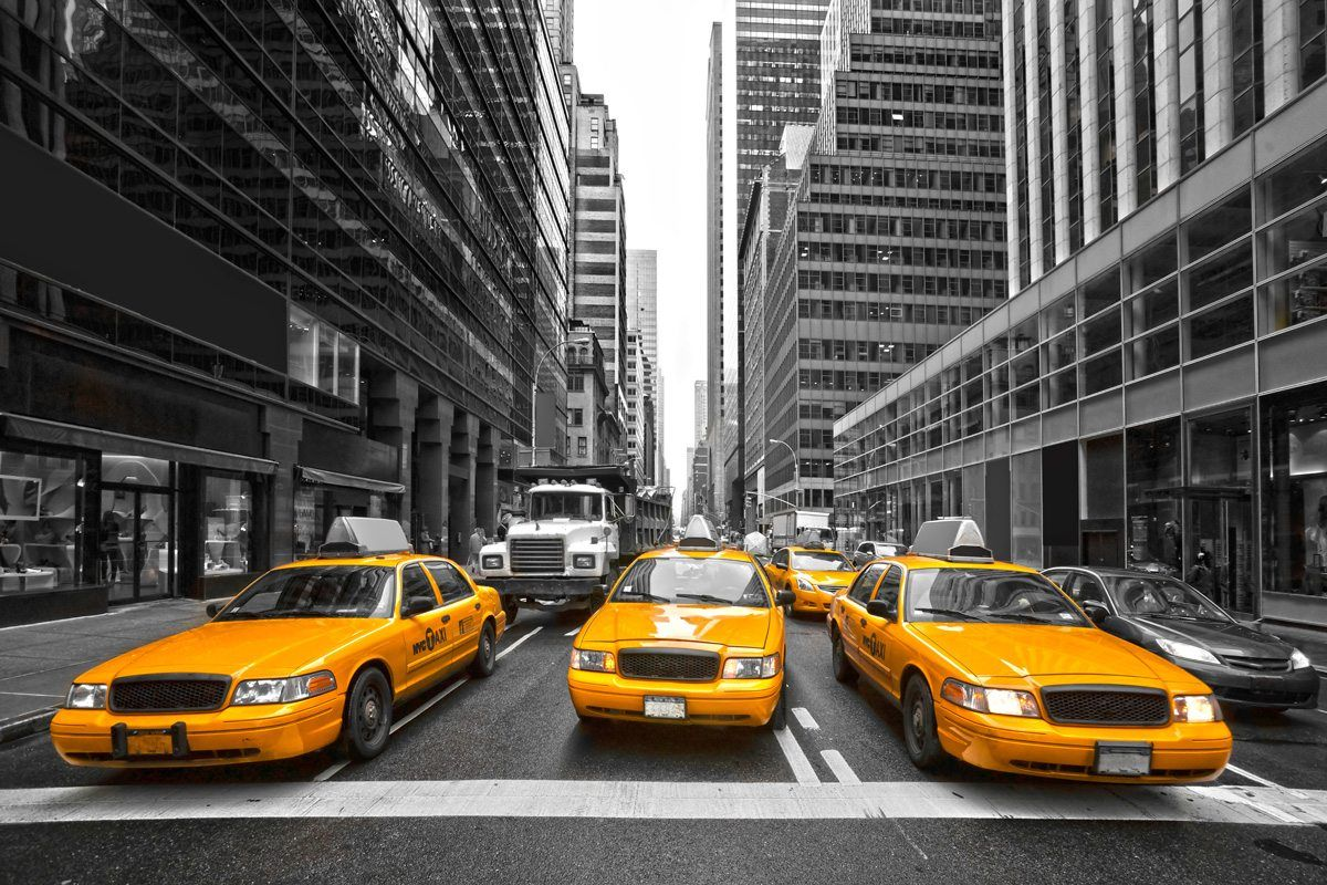 New York City Taxi Wallpaper Wall Mural By Loveabode Com New York Taxi New York City Yellow Taxi