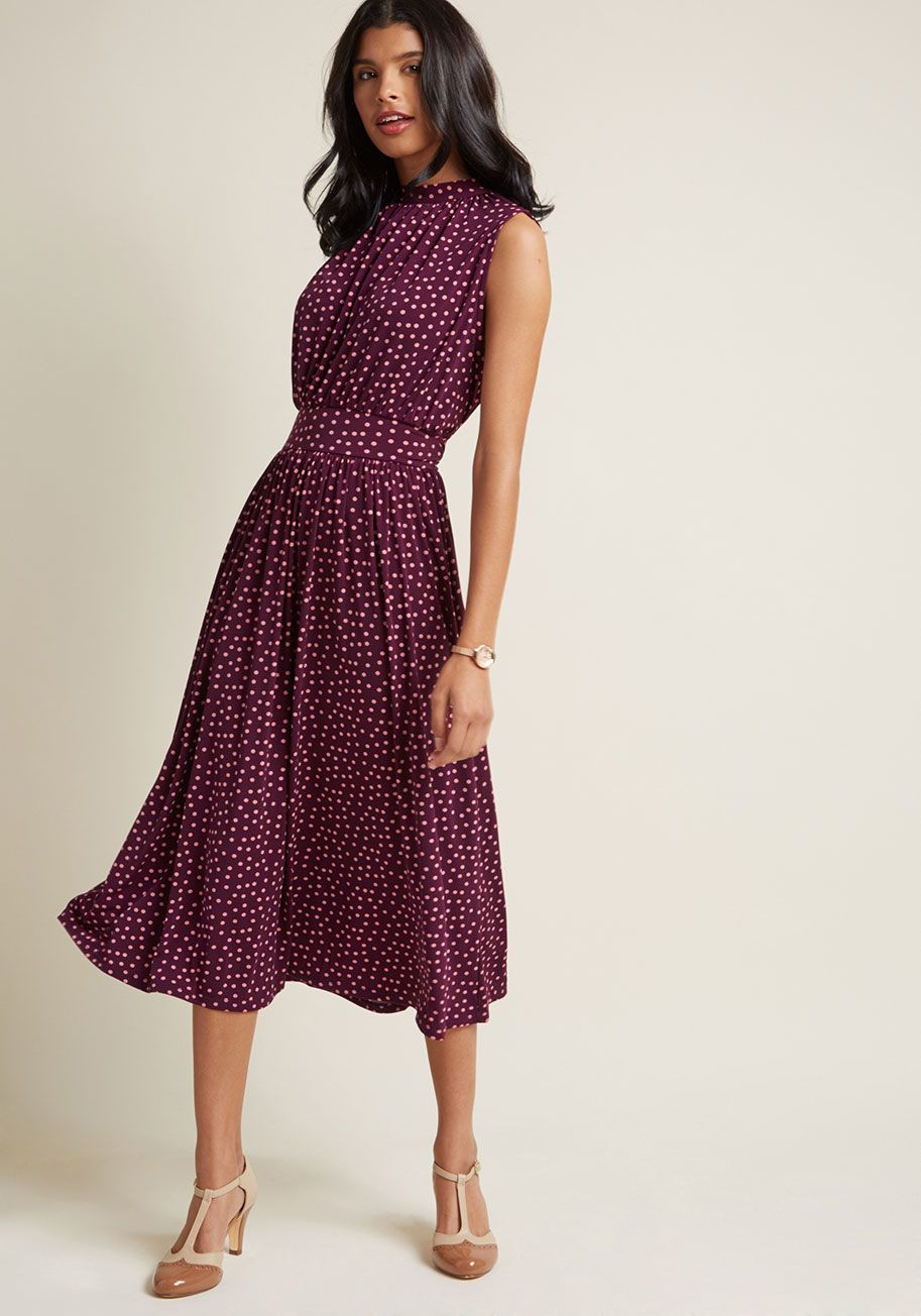 54004c80b28e Off to Ottawa Midi Dress in Purple Dots - Your arrival in Ontario wearing  this purple midi dress will make for a bon voyage, indeed!
