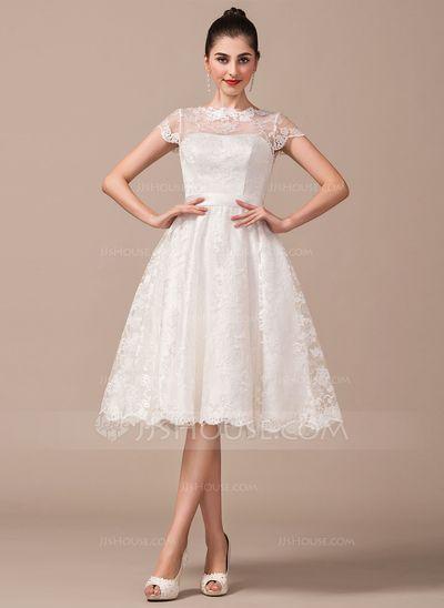 0dedba3838c A-Line Princess Scoop Neck Knee-Length Lace Wedding Dress With Bow(s)  (002068791) - JJsHouse