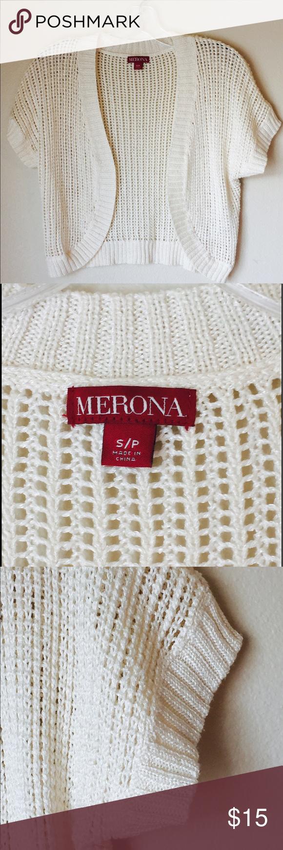 Cream Lightweight Open Knit Short Sleeve Cardigan | Knit shorts