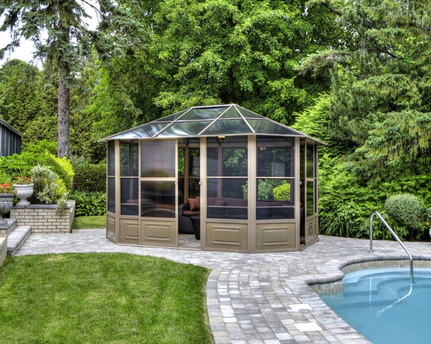 gazebo glass. a glass roof makes an enclosed gazebo the perfect unattached solarium for backyard here r