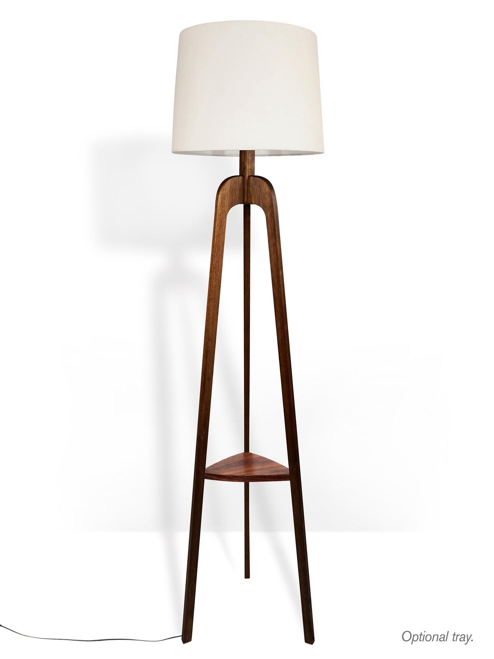 Floor Lamp Danish Modern Tripod Lamp Walnut Tripod Lamp