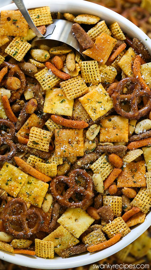 Cajun Chex Mix - For a taste of Cajun Country in Louisiana, try this spicy Cajun seasoning snack mix blend. Made with local Creole and Cajun seasoning from New Orleans, and pretzels, Cajun corn sticks, chex cereal, cheese crackers, and nuts. Everyone raves how amazing and easy this Chex Mix is for football parties, holiday parties and Christmas. #cajundishes