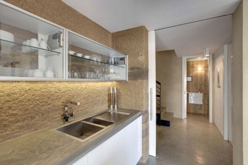 offene Küche schlicht Halten und mit Schiebetür trennen ...