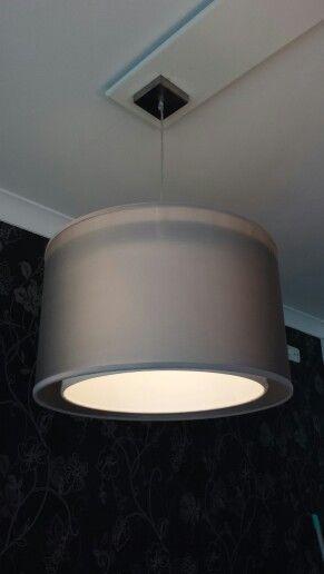 hanglamp dubbele kap 50cm doorsnede Kleur grijs  wit