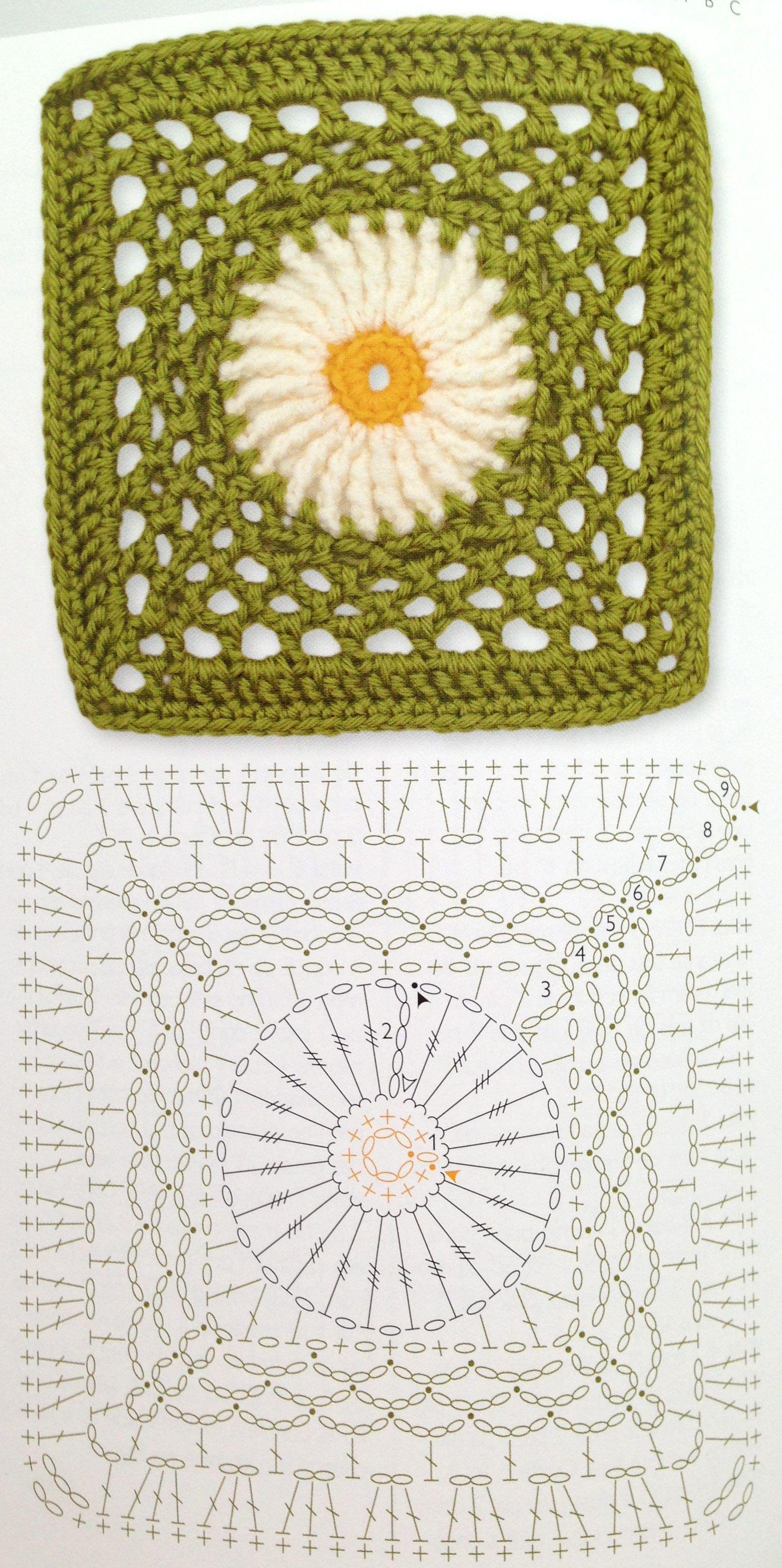 Square crochet flower pattern | Granis crochet | Pinterest ...