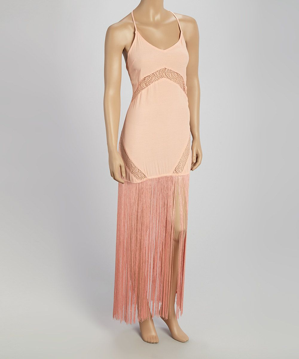 Love this joompy peach fringe halter dress by joompy on zulily