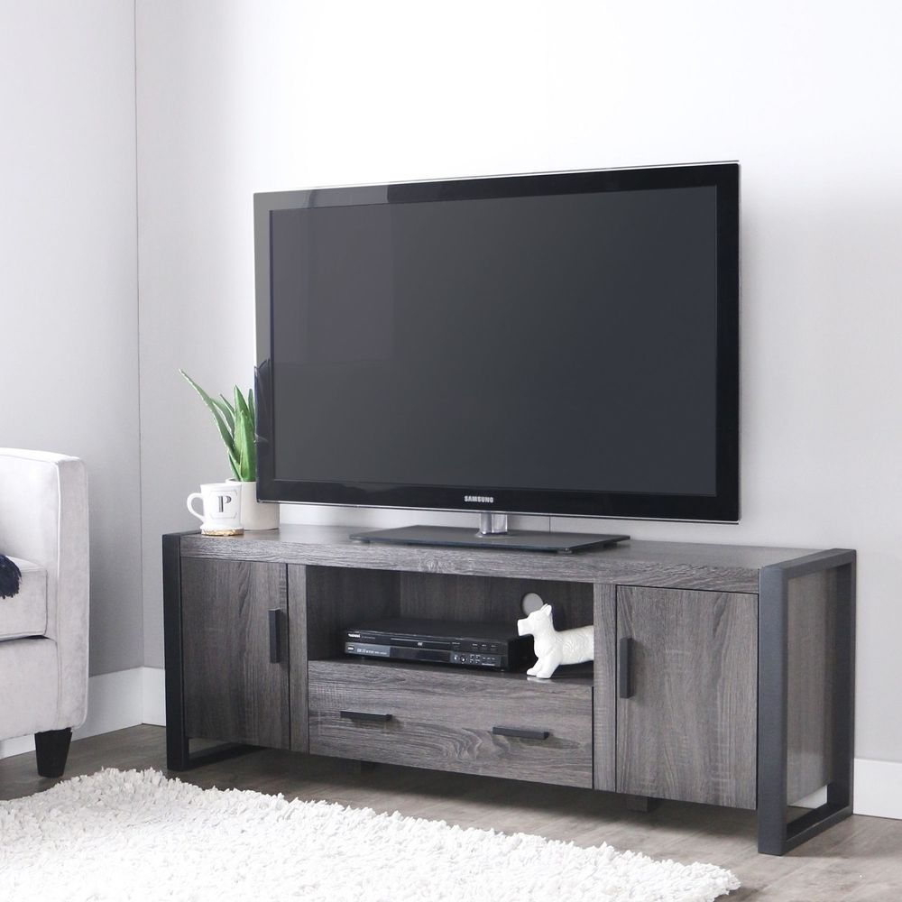 Charcoal grey tv stand wood entertainment center media for Tv console with storage