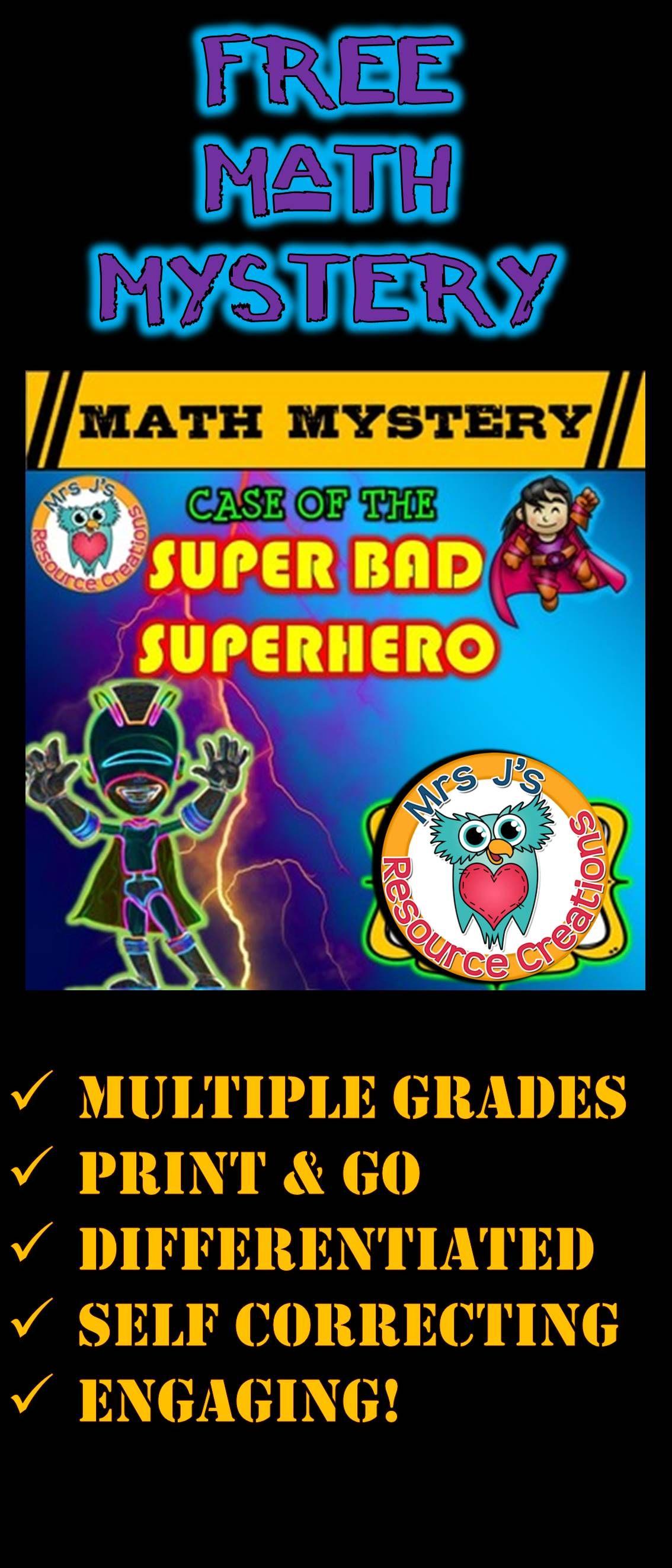 Superhero Free Math Mystery Grades K 6 Bundle