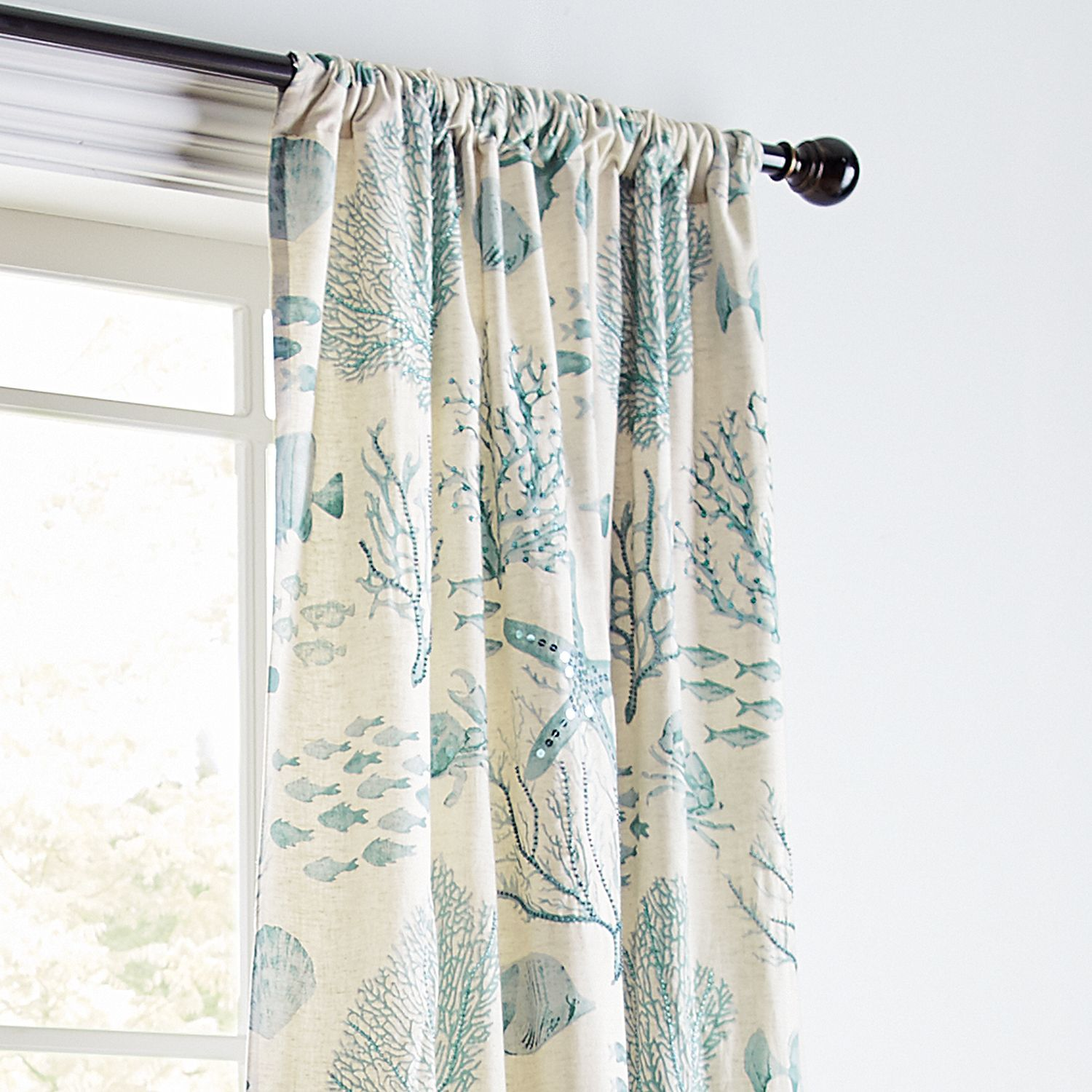 "Cocoa 84/"" Beach Pole Top Window Curtain Panel Coral"