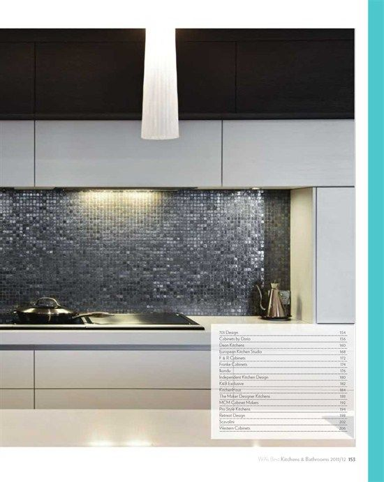 Kitchen Tiles Geelong metallic mosaic tiles give a classy finishing touch to this modern