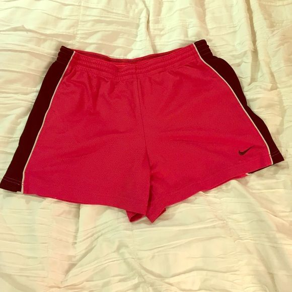 """BOGO Nike pink Mesh Shorts Pink and black these mesh shorts are 13.5"""" long and do not have a built in brief. In good condition :) Nike Shorts"""