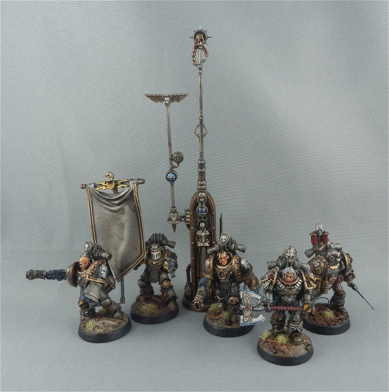 Iron-Warriors Legion Command Squad: Legion Champion, Apothecary & Comms-Relay.