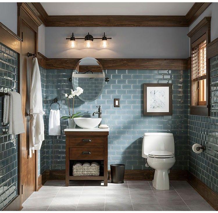 Love this type of tile w/ the wood Diy bathroom remodel