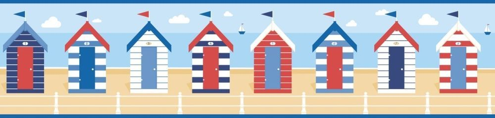 Fine Decor Blue White Seaside Beach Hut Wallpaper Border Self Adhesive Fdb50021 Wallpaper Border Wallpaper Beach Hut