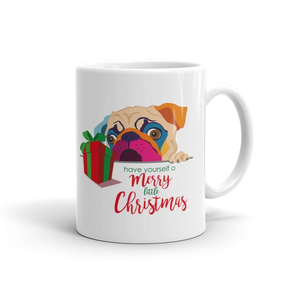 Merry Christmas Mug, Pug Mug, Coffee Mug, Pug, Christmas, Holiday,