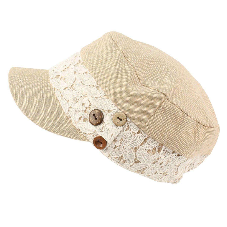 15e3540481deb Ladies Cool Summer Pretty Lace Button Cadet Castro GI Military Cap Hat  Beige - CA11VHC2NPH - Hats & Caps, Women's Hats & Caps, Baseball Caps  #fashionwomen ...