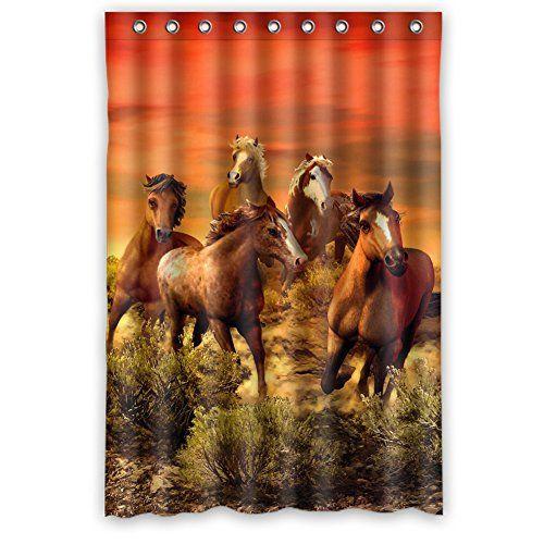 Custom Horse Design Waterproof Polyester Fabric Bathroom Shower Curtain 48 Inch X 72 Inchabout 120cm X 183c Custom Horse Bathroom Shower Curtains Horse Designs