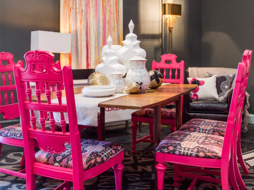 go bold with pink dining chairs | amy howard furniture lacquer