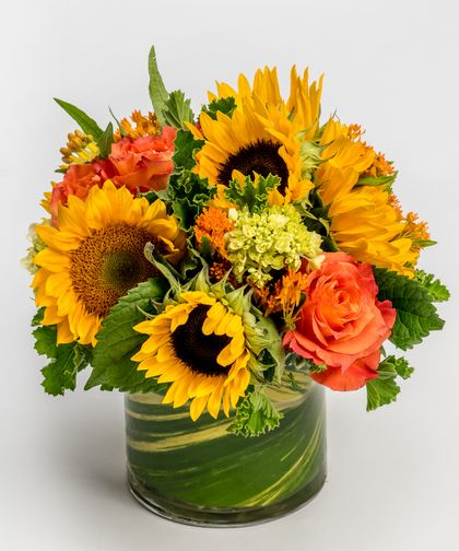 Citrus Punch Bursting with color, this low and lush collection of sunflowers and orange roses accented with simple greens is designed in our signature leaf-lined cylinder vase.