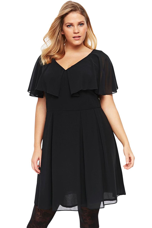 Black Floaty Plus Size Skater Dress | Plus size dresses ...