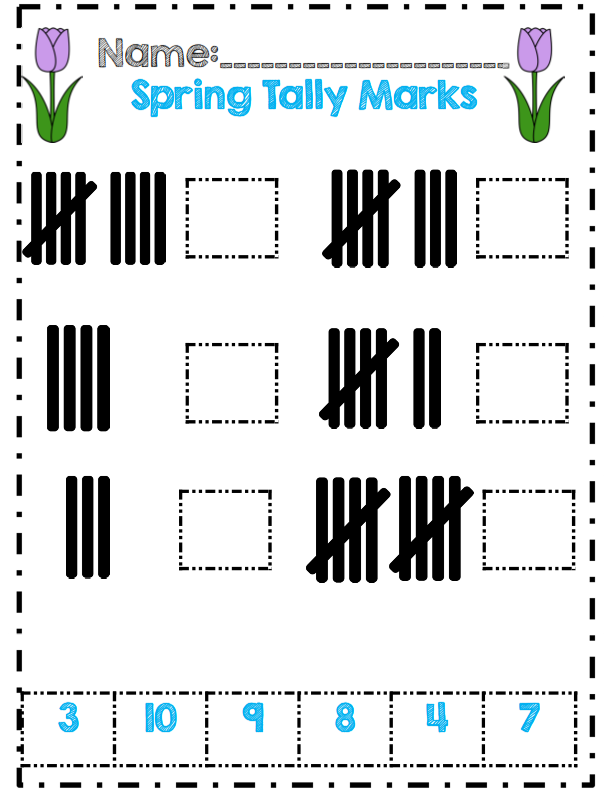 Printable Worksheets tally mark worksheets for first grade : No Prep* Spring Time in Kindergarten Math & ELA Packet ...